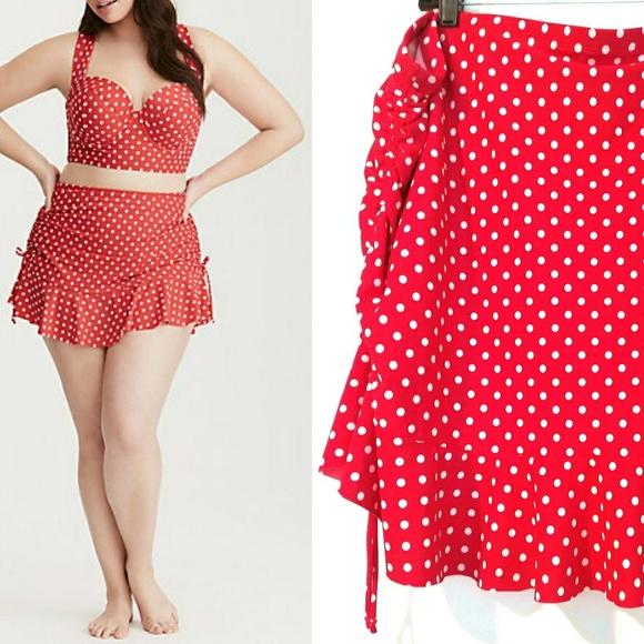 b600ae4f229 4X Torrid Polka Dot Print Tie Side Swim Skirt (26).  M 5aa5539da6e3eaa5dedf87a8